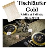 Tischläufer, Tischdecke Resille et Paillette Gold, 3 Meter Rolle