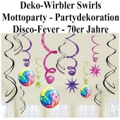 Disco Party, Mottoparty 70er Jahre, Deko-Wirbler, Swirls, Partydekoration