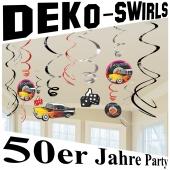 50er Jahre Partydekoration, Deko-Wirbler, Swirls
