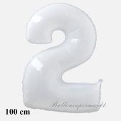 Großer weißer Luftballon, Zahl 2, mit Helium