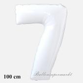 Großer weißer Luftballon Zahl 7 mit Helium