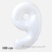 Großer weißer Luftballon Zahl 9 mit Helium