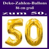 Deko-Zahlen Luftballons mit Ballongas-Helium, Zahl fünfzig in großen goldenen Zahlen, 86 cm große Folienballons