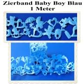 Deko-Zierband, Stoff-Schmuckband, Baby Boy, Blau, Junge, Boy, 1 Meter
