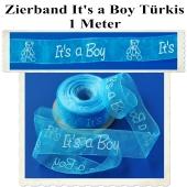 Deko-Zierband, Stoff-Schmuckband, It's a Boy, Türkis, Junge, Boy, 1 Meter