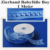 Deko-Zierband, Stoff-Schmuckband, Babyfüße, Blau, Junge, Boy, 1 Meter