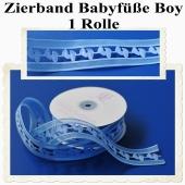 Deko-Zierband, Stoff-Schmuckband, Babyfüße, Blau, Junge, Boy, 1 Rolle