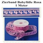 Deko-Zierband, Stoff-Schmuckband, Babyfüsse, Rosa, Mädchen, Girl, 1 Meter