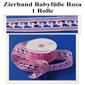 Deko-Zierband, Stoff-Schmuckband, Babyfüsse, Rosa, Mädchen, Girl, 1 Rolle