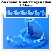 Deko-Zierband, Stoff-Schmuckband, Babywagen, Kinderwagen, Blau, Junge, Boy, 1 Meter