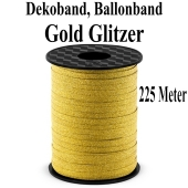 Zierband, Luftballonband, Gold Glitter