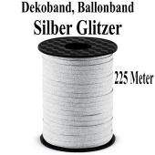 Zierband, Luftballonband, Silber Glitter