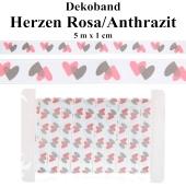 Deko-Zierband Herzen, Anthrazit-Rosa, 5 m