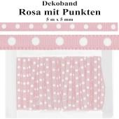 Deko-Zierband Punkte, Rosa, 5 m