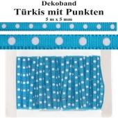 Deko-Zierband Punkte, Türkis, 5 m