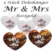 Mr & Mrs Dekohänger in Roségold, 5 Stück