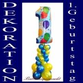 Dekoration aus Luftballons zum 1. Geburtstag