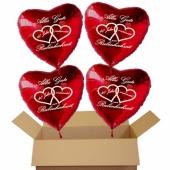 Dekoration Rubinhochzeit, 4 rote Herzluftballons 40 Hahre verheiratet