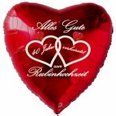 Dekoration Rubinhochzeit. Roter Herzluftballon Alles Gute zur Rubinhochzeit aus Folie inklusive Ballongas