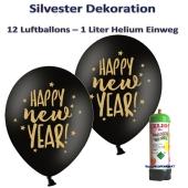 Dekoration Silbester: 12 Luftballons Happy New Year, schwarz-gold, mit 1 Liter Ballongas Einweg