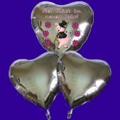Silvester Bouquet bestehend aus 3 Herzballons in Silber mit Helium, Viel Glück im neuen Jahr