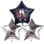 Silvester Bouquet bestehend aus 3 Sternballons in Silber und Schwarz mit Helium, 2021 Feuerwerk