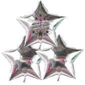 Silvester Bouquet bestehend aus 3 Sternballons in Silber mit Helium, 2020 Feuerwerk