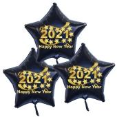 Silvester Bouquet bestehend aus 3 Sternballons in Schwarz mit Helium, 2021, Happy New Year