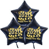 Silvester Bouquet bestehend aus 3 Sternballons in Schwarz mit Helium, 2020, Happy New Year