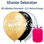 Dekoration Silvester: 30 Luftballons Happy New Year mit 2,2 Liter Ballongas Einweg