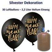 "Silvester Dekoration: 30 Luftballons schwarz-gold ""Happy New Year"", 2,2 Liter Ballongas Einweg"