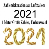 Zahlen aus Luftballons, Jahreszahl 2021, Dekoration Silvester, Silvesterdeko, Partydekoration Neujahrsfeier