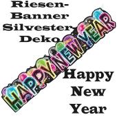 Dekoration Silvester Riesenbanner Happy New Year, Silvesterdeko, Neujahrs-Banner