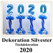 Dekoration Silvester, Tischdekoration, Ballondekoration 2020, blau-weiß