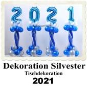 Dekoration Silvester, Tischdekoration, Ballondekoration 2021, blau-weiß