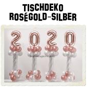 Dekoration Silvester, Tischdekoration, Ballondekoration 2020, rosegold-silber