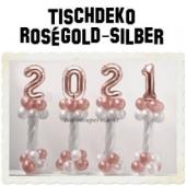 Dekoration Silvester, Tischdekoration, Ballondekoration 2021, rosegold-silber