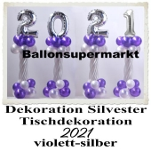 Dekoration Silvester, Tischdekoration, Ballondekoration 2021, violett-silber