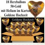 Dekoration und Gastgeschenke zur Goldenen Hochzeit, 18 goldene Herzballons 50 Gold, mit Ballongas-Helium zum Versand im Karton