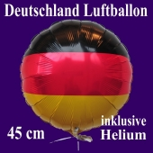 Deutschland Luftballon, Folienballon 45 cm mit den Deutschlandfarben, Ballon mit Helium-Ballongas