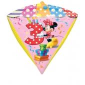 Diamonz Luftballon aus Folie Minnie Mouse zum 3. Geburtstag