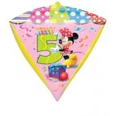 Diamonz Luftballon aus Folie Minnie Mouse zum 5. Geburtstag
