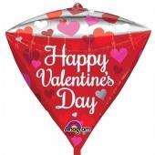 Happy Valentines Day, Luftballon aus Folie, diamondz inklusive Helium