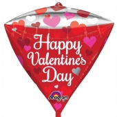 Diamondz Luftballon aus Folie, Happy Valentines Day ohne Helium