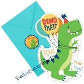 Dino-Mite Einladungskarten zum Kindergeburtstag, 8 Stück