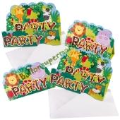Einladungskarten Dschungeltiere zum Kindergeburtstag, 8 Stück