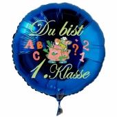 Du bist 1. Klasse. Blauer Luftballon mit Ballongas Helium gefüllt zur Einschulung, zum Schulanfang