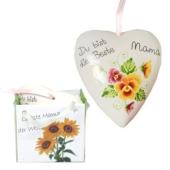 """Herzhänger """"Du bist die Beste - Mama"""" aus Porzellan zum Muttertag"""