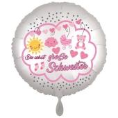 Du wirst große Schwester, Luftballon aus Folie, 43 cm, Satine de Luxe, weiß