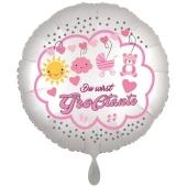 Du wirst Großtante, Luftballon aus Folie, 43 cm, Satine de Luxe, weiß